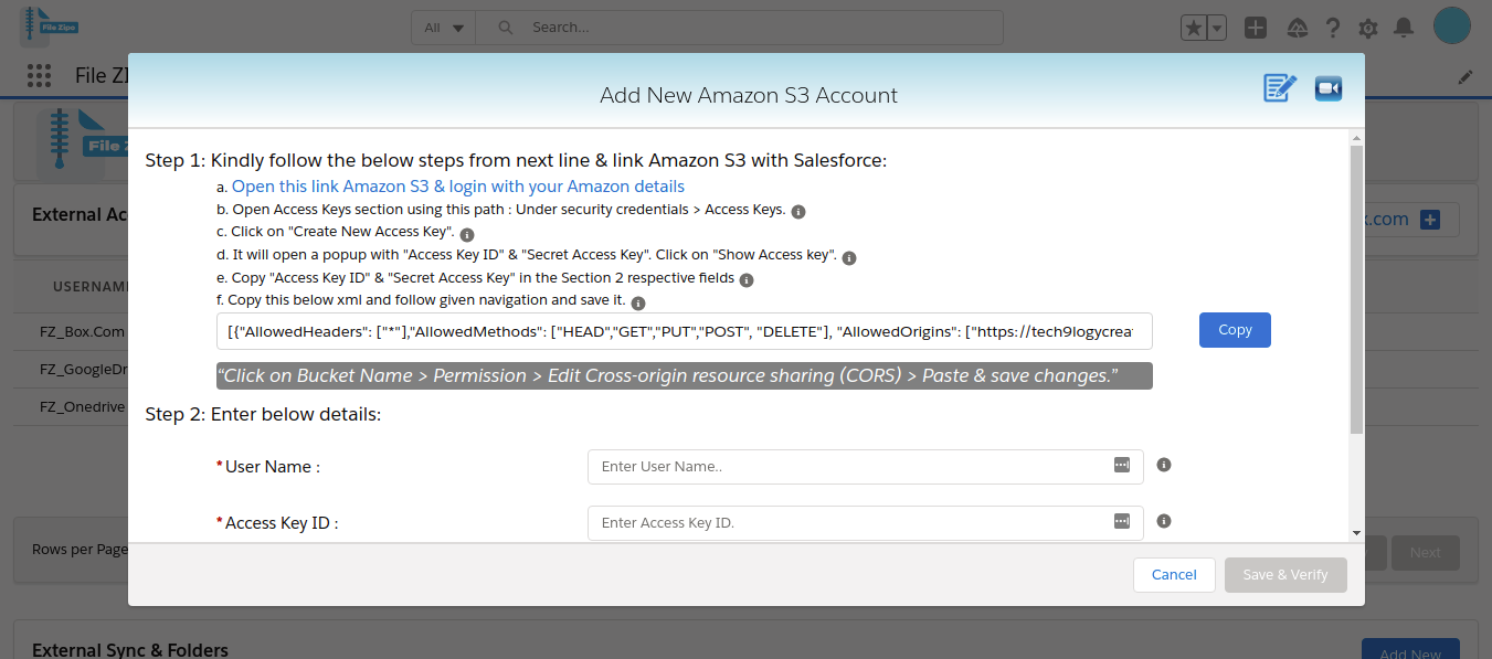 Amazon s3 popup with instructions