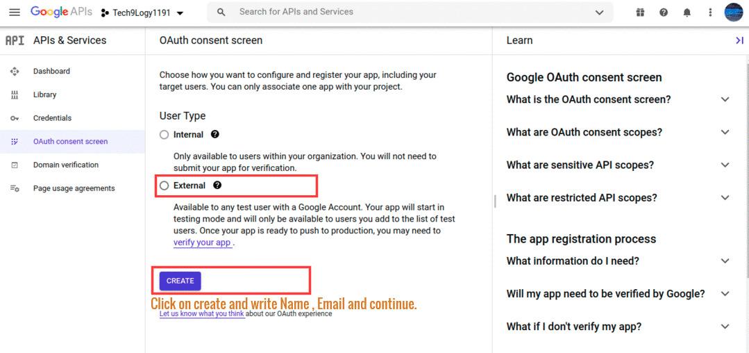 "Click on ""Configure Consent Screen"""
