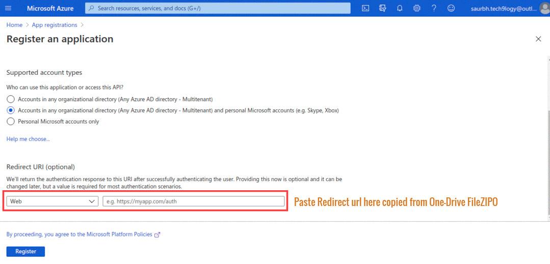 Copy URL in redirect URI