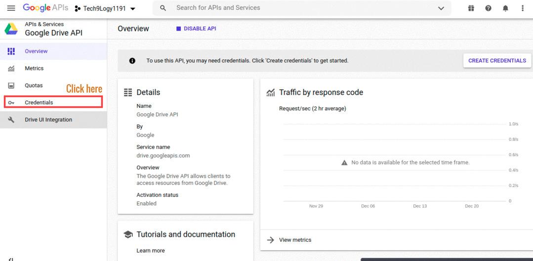 Goto API & Services > Credentials