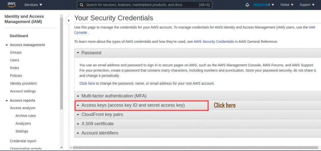 Open Access Keys section