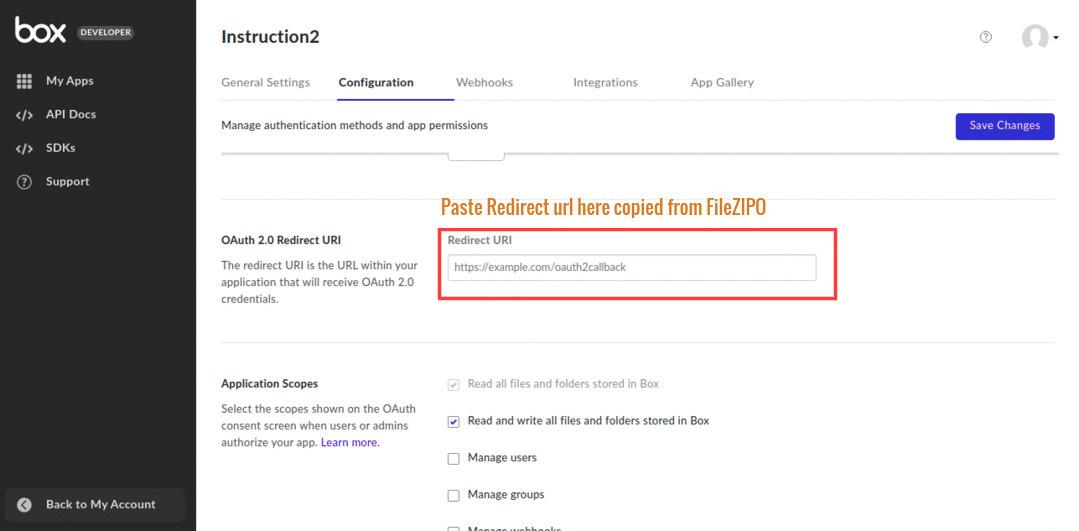 Paste the copied redirect URL