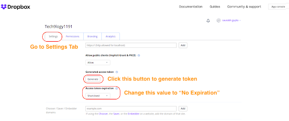 """click """"Generate"""" on Generated access token"""