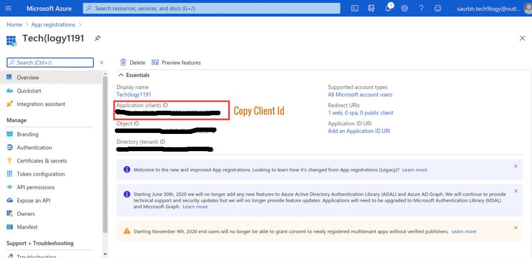 copy Application (client) ID