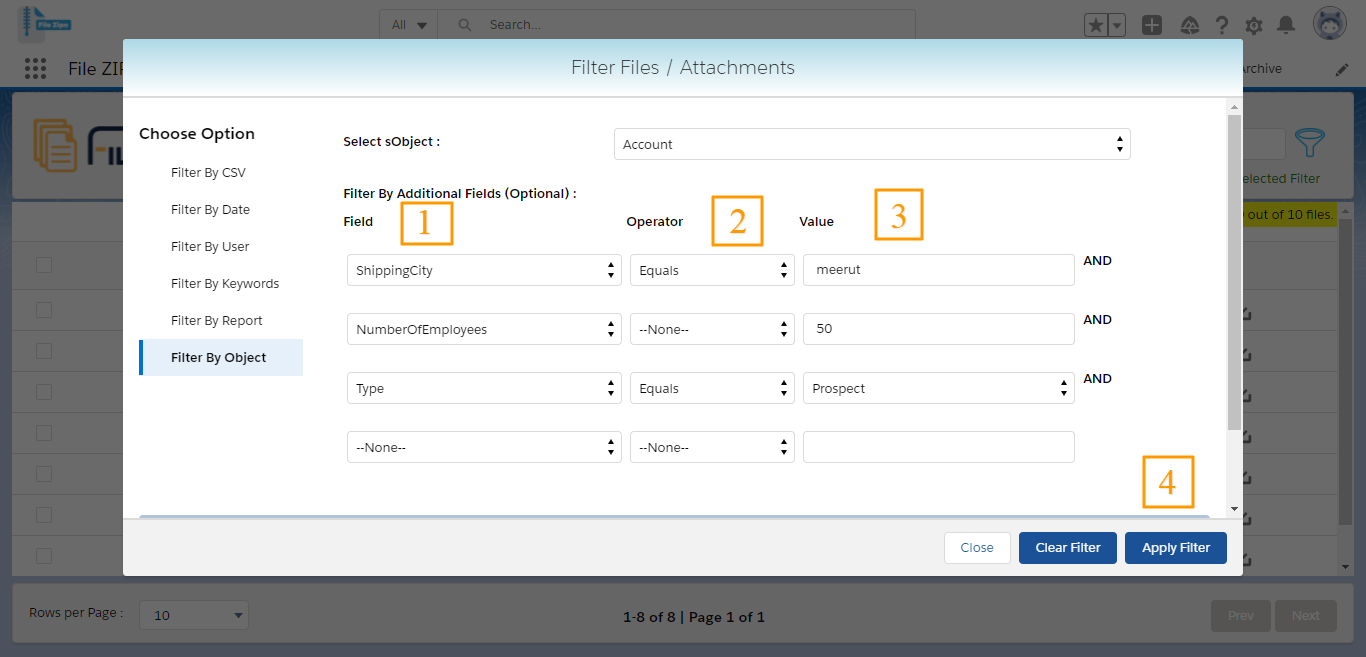 Filter By Object in merge pdf