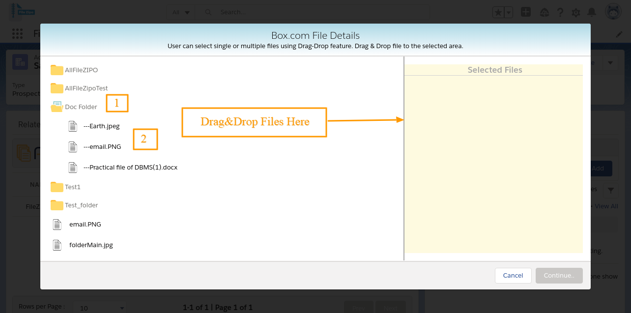 Select Existing File box