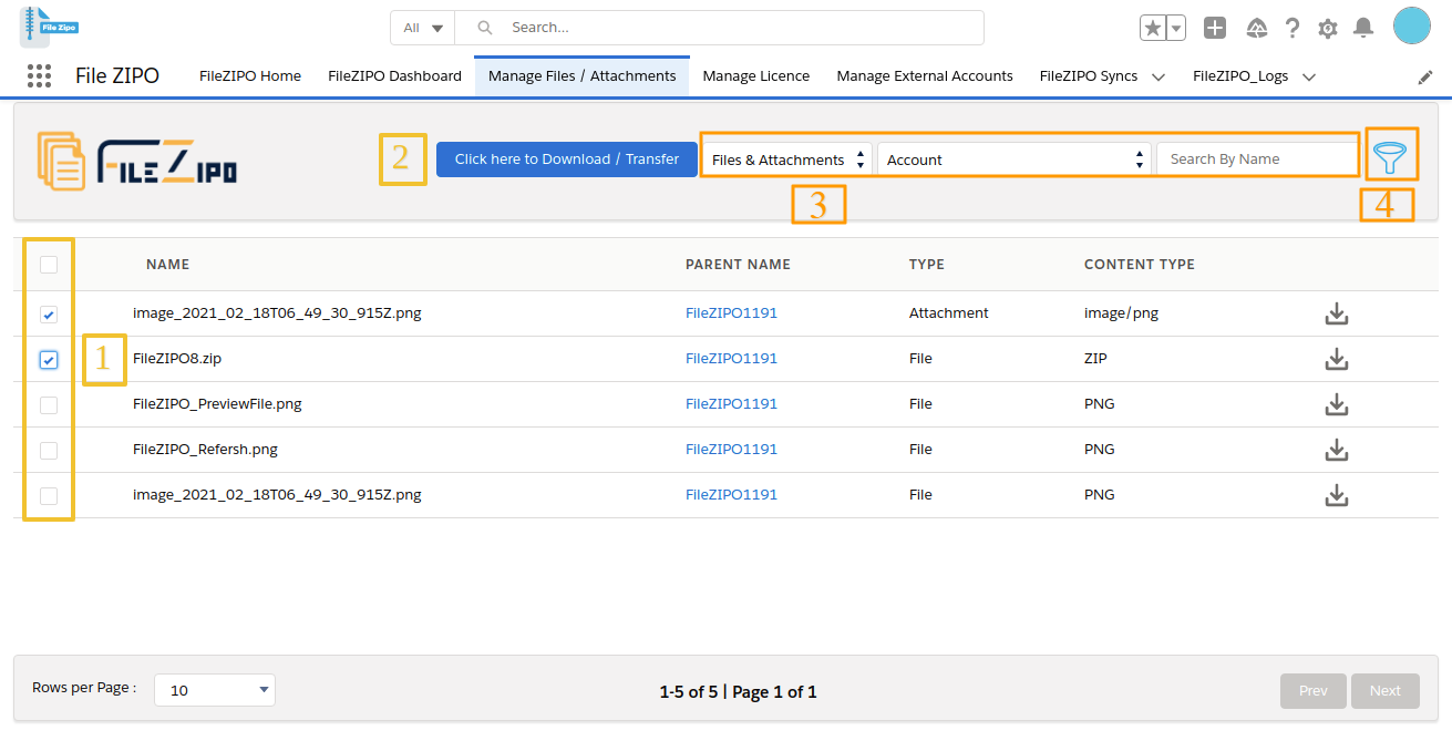 Select single or multiple Files / Attachments