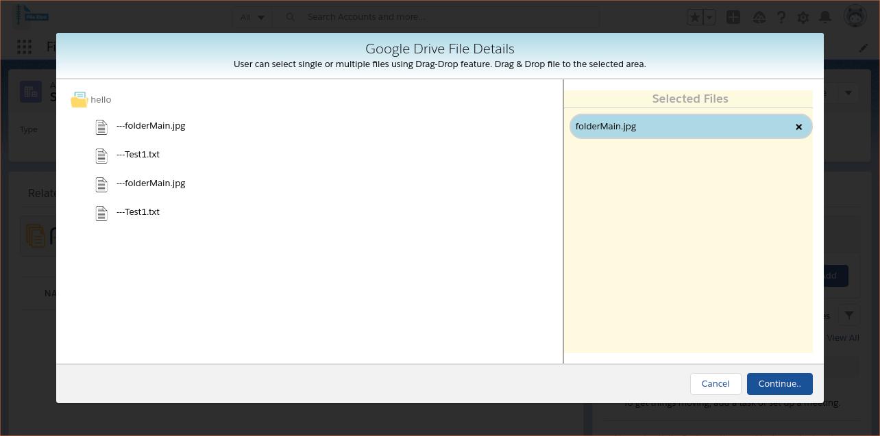 User can easily Drag & Drop files