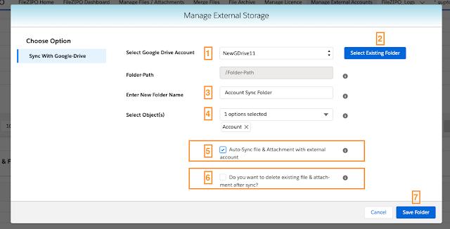 External Sync & Folders table