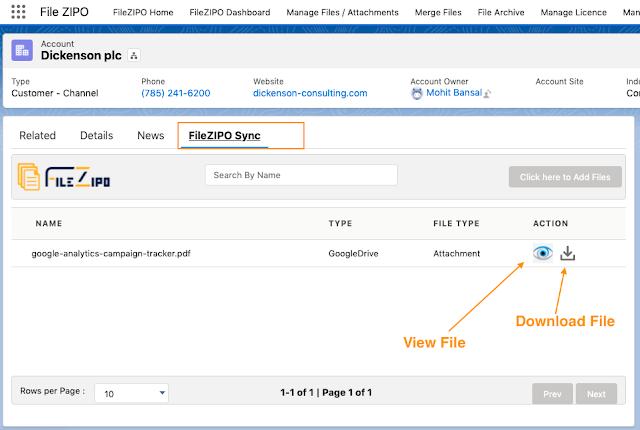 File Zipo Sync Tab