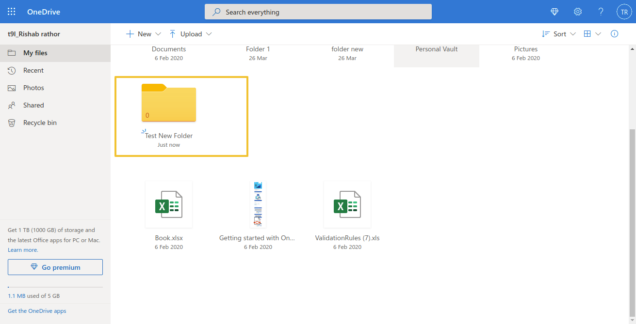 go to your OneDrive account