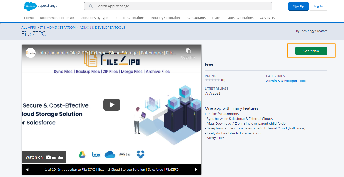 Appexchange page of File ZIPO