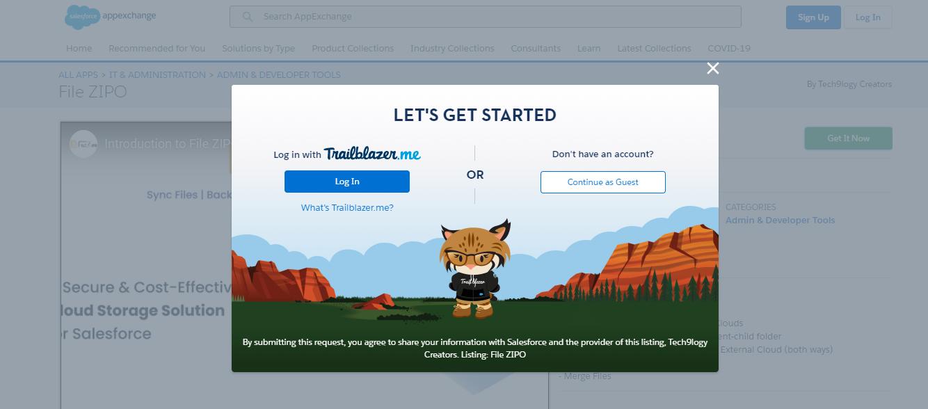 login on Appexchange with salesforce credentials