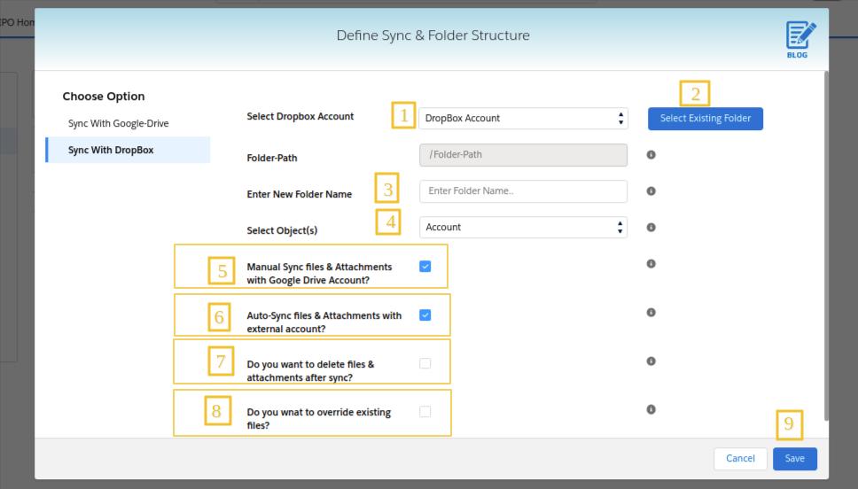 Define Sync & Folders table