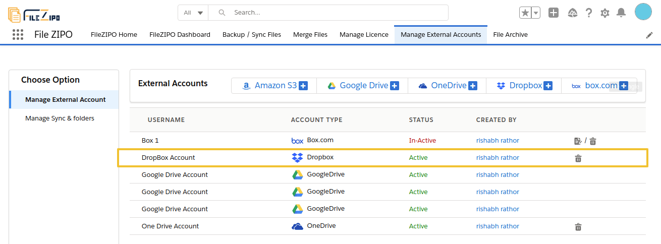 easily add any Dropbox account